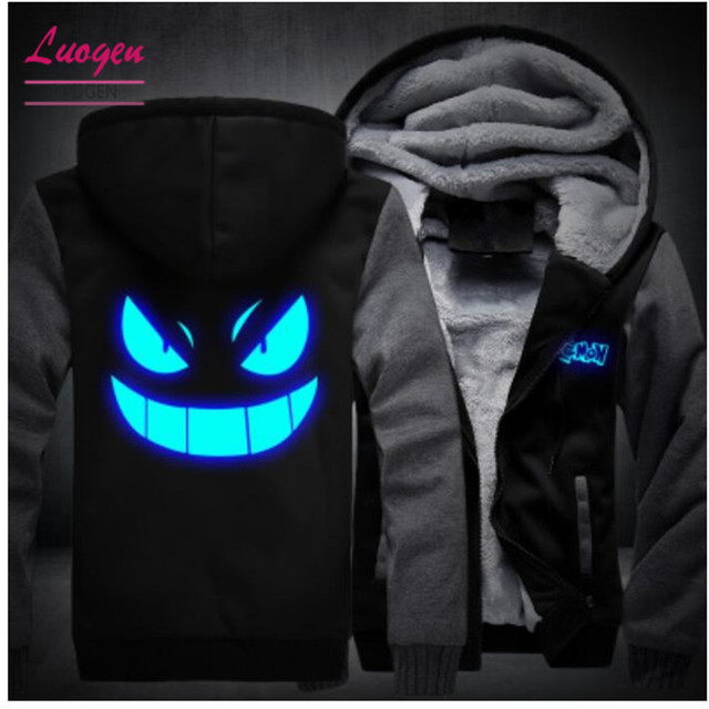 26aed1eac044b USA SIZE Anime Pokemon Go Pocket Monster Gengar Luminous Coats Glowing Men s  Hoodies Sweatshirts Winter Thicken Fleece Clothing