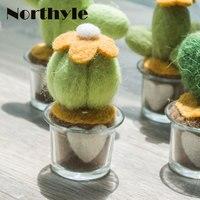 Original Northyle wool potted cactus miniature fleece cactus figurine fake plant craft christmas gift home decoration