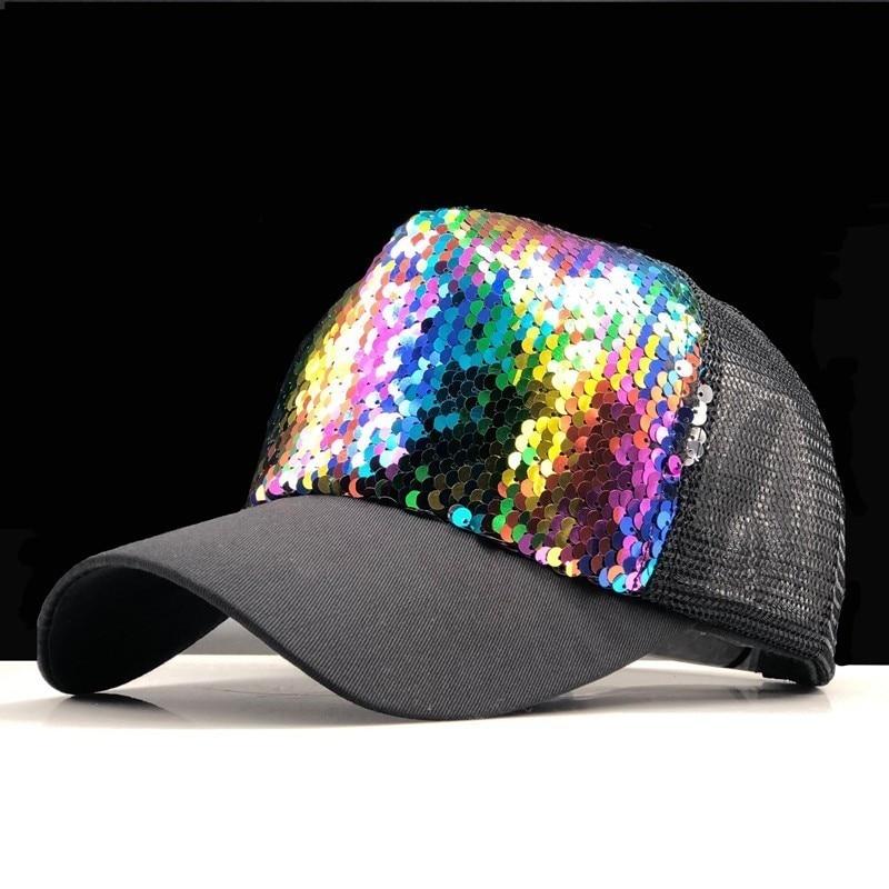 2019 simple Summer Parent-child   Baseball     Caps   Adjustable Sequins Girls Mesh   Cap   Boy Sun Hats Women Snapback 50-54-58-60cm