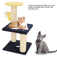 3 Layer Cat Climbing Tree Scratching Post Board and Hanging Toy Home Pet Activity Center Interactive Corrugated Cat Toy