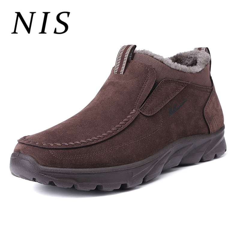 NIS Mens Large Size Fur-Lined Boots Winter Snow Shoes Men Faux Suede Plush Warm Moccasins Loafers Ankle Boots Casual Sneakers faux fur lined flat ankle boots