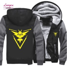 Luogen US Size Pokemon Go Team Valor Mystic Instinct Cosplay Hoodie Jacket Hop Hip Hoodies Sweatshirts Men Thicken Zipper Coat