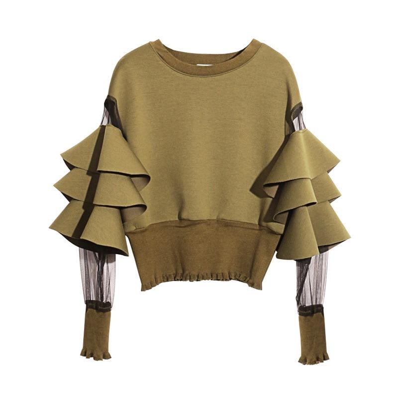 [EAM] 2020 New Spring Round Neck Long Sleeve Solid Color Gauze Split Joint Loose Sweatshirt Women Fashion Tide JC509 2