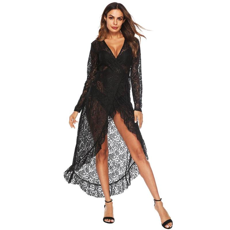 2018 Women Sexy V Neck Lace Dress Black Long Sleeve See