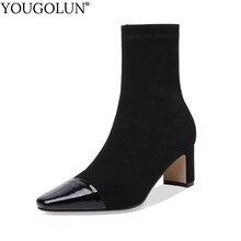 Stretch Fabric Boots Women Autumn Genuine Leather Lady Heels Shoes C145 Fashion Woman Black Caramel Square Toe Mid-Calf Boots цены онлайн