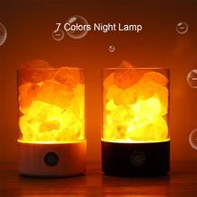 LED Natural Himalayan Salt Rock Light Touch Dimmer Switch With USB Night Lamp Without Crystal Salt Stone