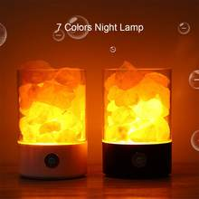 LED Natural Himalayan Salt Rock Light Touch Dimmer Switch With USB Night Lamp Without Crystal Salt Stone(China)