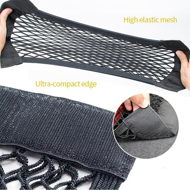Car Back Rear Trunk Seat Storage Bag Mesh Auto Organizer Double-deck Elastic String Net Magic Sticker Pocket Bag Car Organizers 2