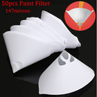 50pcs 100 Mesh Paper Paint Strainer (147 micron) Nylon Full Flow Conical Cone Filter Funnel