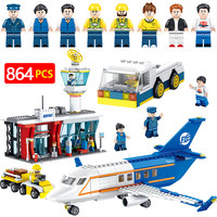 Technik 864pcs Airport Passenger Terminal Aircraft Building Blocks Compatible Legoed City Mini Sets Figures Bricks Kids Toys