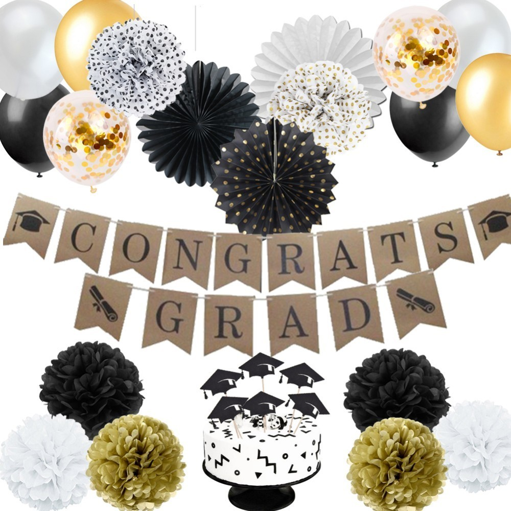 34pcs Graduation Party Decorations Set With Graduation Balloon Cake Topper Hanging Banner For Graduation Decor Photo Background in Party DIY Decorations from Home Garden