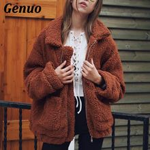 Women Lambs Wool Faux Fur Coat Pocket Shaggy Jacket 2018 Autumn Winter Warm Zipper Cardigan Bomber Outerwear Plus Size 3XL Genuo
