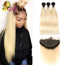 3 Bundle 613 Straight Brazilian Weave Virgin Human Hair Ombre Blonde Pre Plucked Full Closure,Lace Frontal,Frontal with Bundles(China)