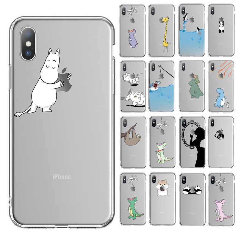 Ottwn For iPhone X Case For iPhone 6 6s 7 8 Plus XR XS Max 5 5s SE 11Pro Max Funny Animal Dinosaur Soft Phone Case Clear Cover