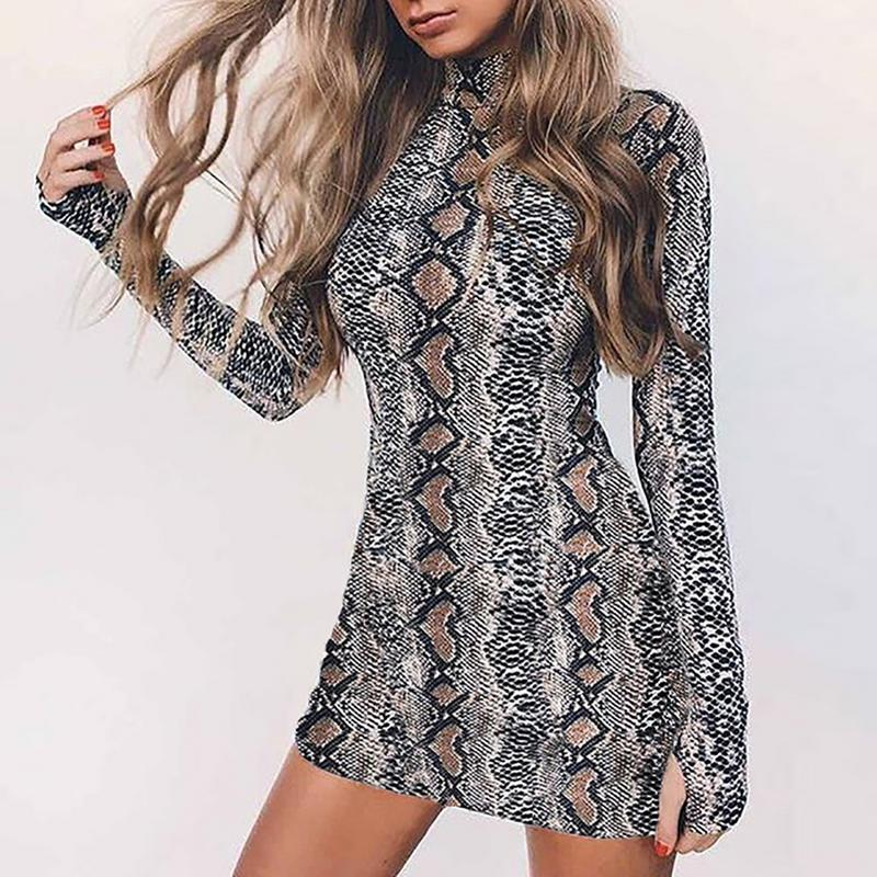 2018 NEW Women's Fashion Snake Pattern Dress Autumn Winter Serpentine Turtleneck Mini Bodycon Dress with Long Sleeve Round Neck