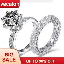 fac2ef9367f Vecalon Clássico Flor conjuntos AAAAA Cz Pedra 925 Sterling Silver  Engagement Promise ring wedding Band anéis para as mulheres H..