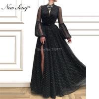 Black High Split Side Long Prom Dresses Dubai Moroccan Kaftan Islamic Arabic Evening Gowns Robe De Soiree Party Dress 2019