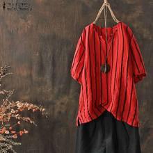 Plus Size ZANZEA Blouse Women Casual Striped Short Sleeve Shirt 2019 Summer Blusa Feminina Ladies Cotton Loose V Neck Top Blusas недорого