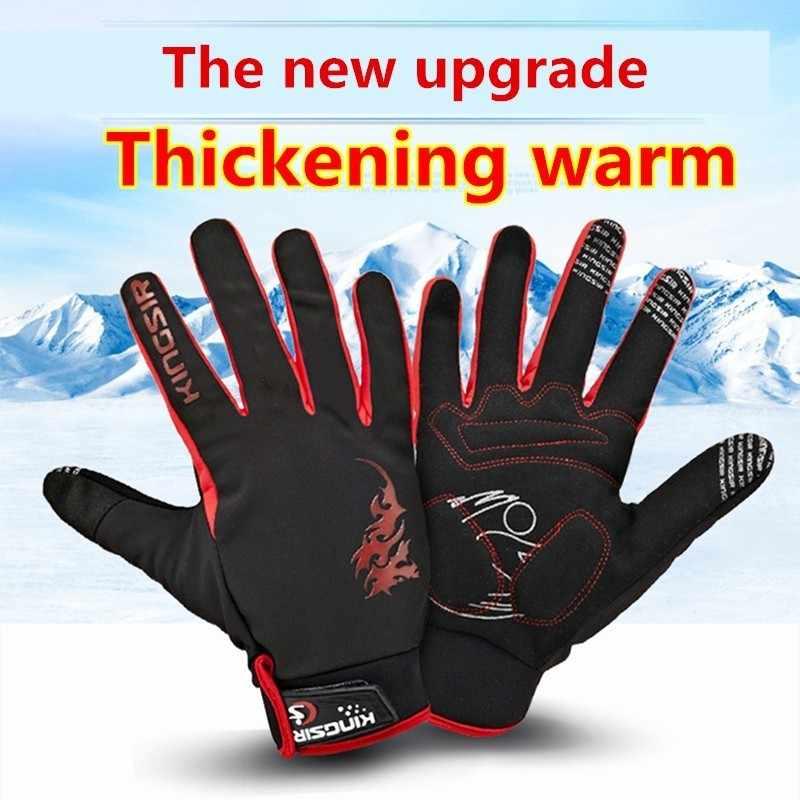 Ciclismo guante de invierno grueso mantener caliente largo dedo completo bicicleta Mtb táctico estiramiento telas no deslizantes de viaje guantes
