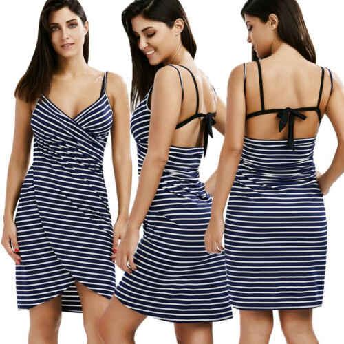 8b4f44d8654fb Women Stripe Sling Backless Swimwear Scarf Beach Cover Up Wrap Sarong Maxi  Dress