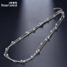 DreamCarnival 1989 Brand Silver 925 Small Pendant 120cm Long Chain Necklaces for Women White CZ Fashion Jewelry Gifts SN04484R(China)