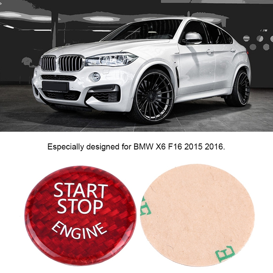 Start Button Cover Red Carbon Fiber Car Engine Start Stop Button Switch Cover For BMW 1-7 Series X1 X3-X6
