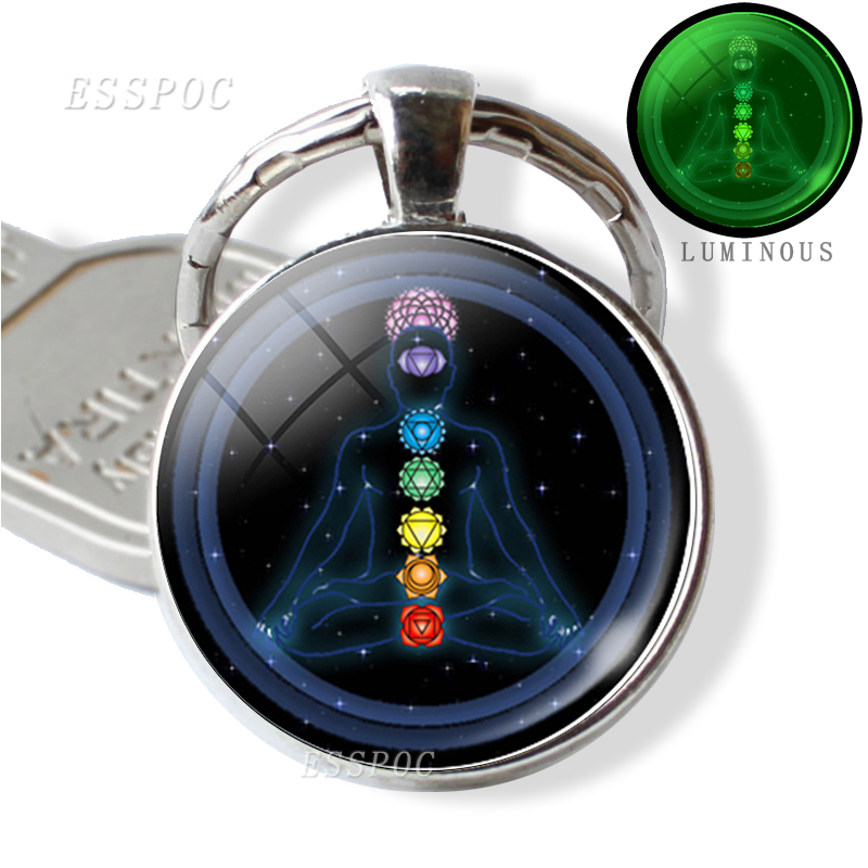 7 Chakra Luminous Jewelry Buddhism Indian Chakra Keychain Keyring Sacred Geometry Cabochon Glass Pendant