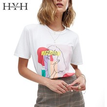 HYH HAOYIHUI 2019 New Summer Girls Tops Retro Pure Color Minimalist Casual Style T-shirt Print O-Neck Comfortable