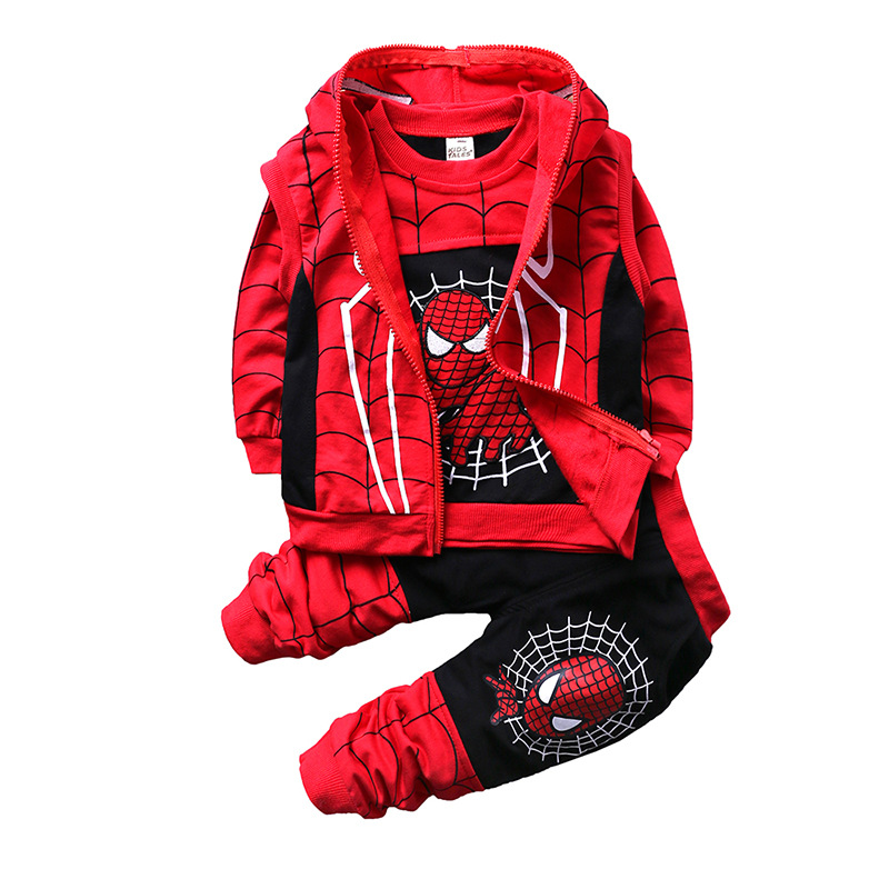 New Autumn Superman Tracksuit Children's Clothing Set Spiderman Costume Children Clothes Cotton Sport Suit For Baby Boys1-4Y