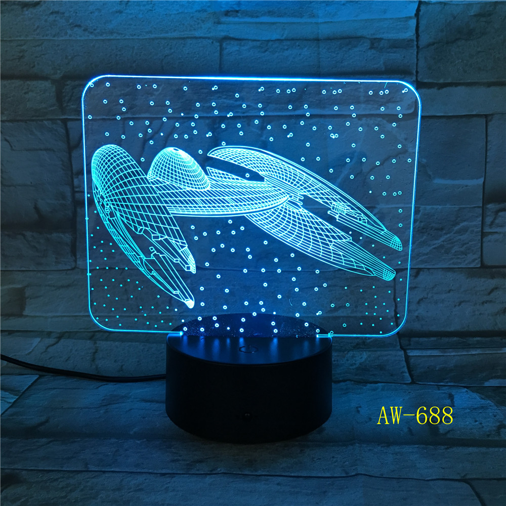 7 Colors Change 3D Vision Airplane Modelling Led Aircraft Night Light Desk Lamp Decor Usb Sleep Lighting Fixtures Gifts AW-688 image