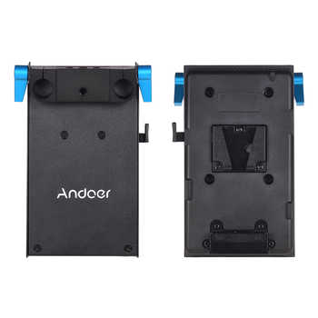 Andoer V Mount V-lock Battery Plate Adapter LP-E6 Dummy Battery Adapter for BMCC BMPCC Canon 4/80D/6D2/7D2 for Monitor Recorder