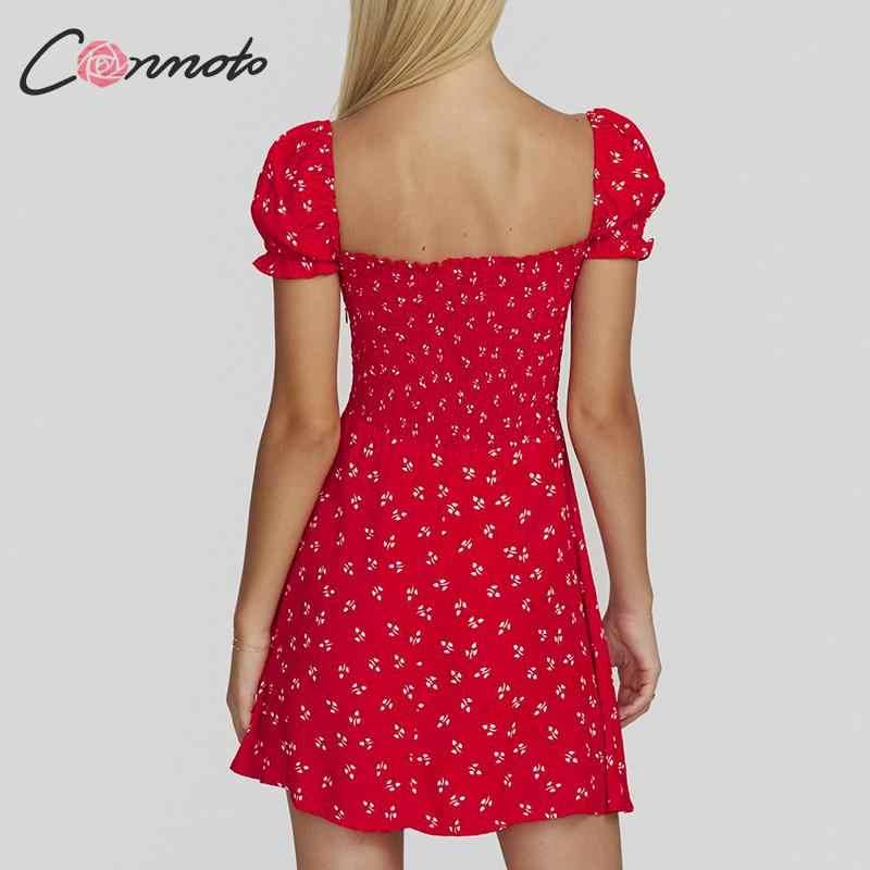 Conmoto Шифоновое красное короткое летнее платье, винтажное свободное платье с цветочным принтом, элегантное короткое платье для вечеринок, летнее платье со шнуровкой, 2019