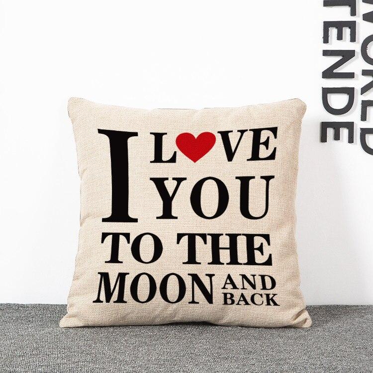Lovers Linen Cotton Blend 2 Pcs/Lot Valentines' Day Pillow Case Home Square Pillow Case Decorative Pillowcases