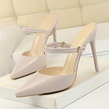 купить Brand Slipper Women Shoes High Heels Beige Black Office Shoes 10CM Heel Summer Ladies Slipper Pointed Toe Sandal DS-A0229 по цене 1663.76 рублей