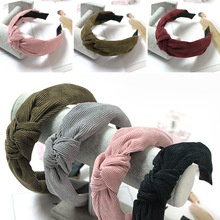 Knot Cross Tie Solid 1 PC Fashion Hair Band Hairband Knitted rib Girls Bow Hoop Accessories Velvet Twist Headband