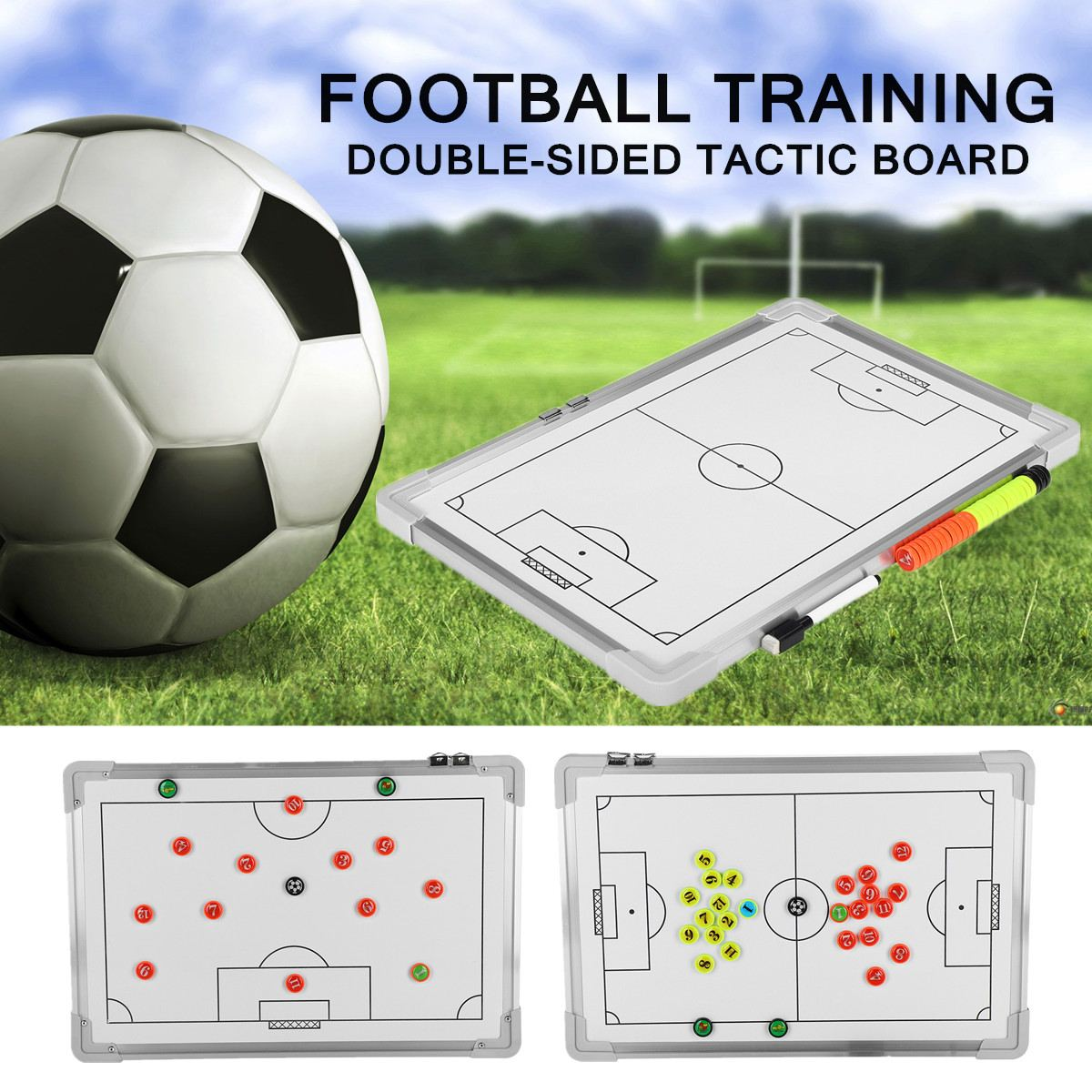 Magnetic Football Tactical Board Training Guidance Hanging Plate Double-Sided Coaching Board Rubber Corners 455x305x18mm