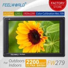 Feelworld FW279 7 дюймов ультра яркий 2200nit DSLR камера поле мониторы 4 к HDMI Full HD 1920×1200 ЖК дисплей ips монитор с высокой яркостью