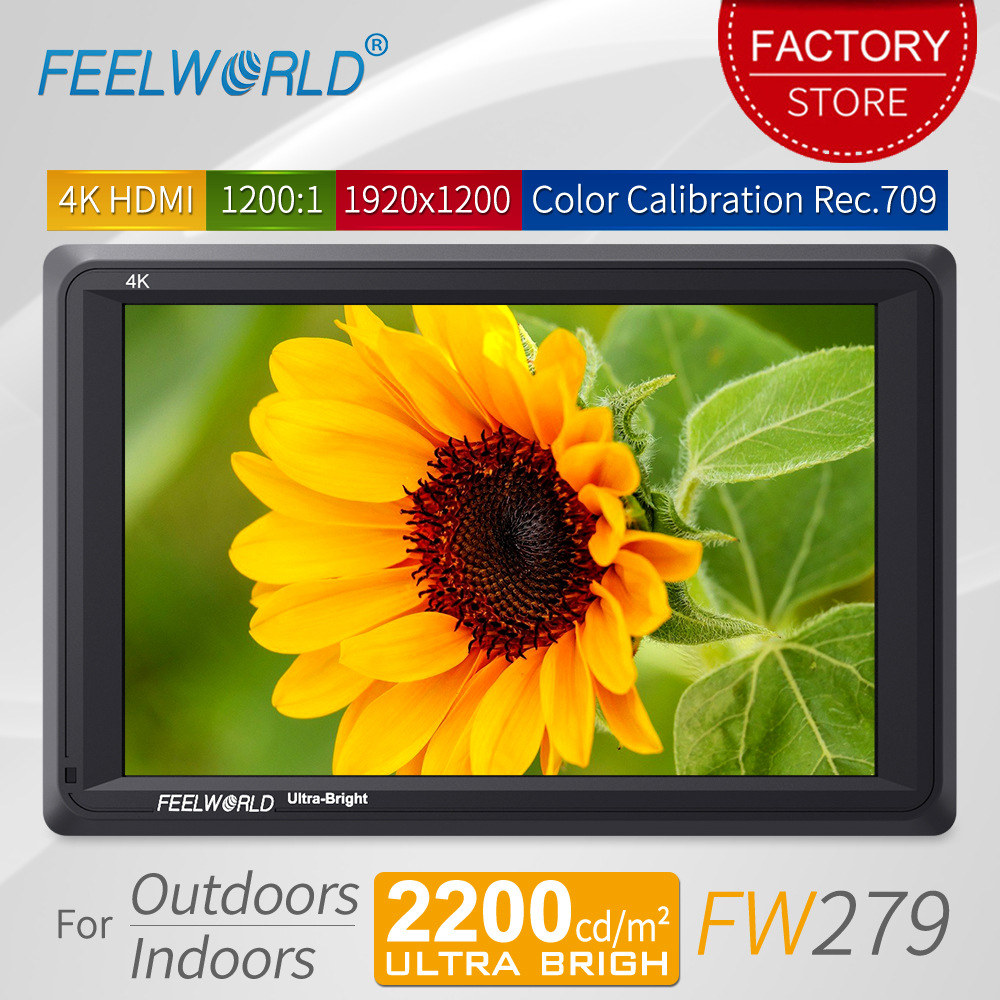 Feelworld FW279 7 pouces Ultra lumineux 2200nit DSLR caméra moniteur de champ 4 K HDMI Full HD 1920x1200 LCD IPS moniteur haute luminosité
