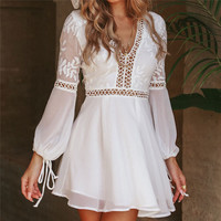 KUDE New Fashion Women Casual Sexy V Neck Long Sleeve Lace Trim Short Mini Dress white dress vestido Long Pleated Ukraine 7479