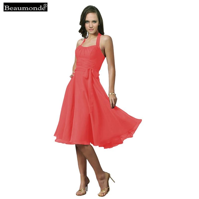 Beaumonde Short   Bridesmaid     Dress   2018 Lovely Pleat Prom Celebrity Graduation Chiffon   Dresses   15 Colors for Wedding Party CO08002