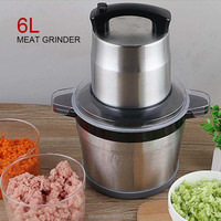6L Large capacity Electric Stainless Steel Meat Grinder Chopper Automatic Egg Stirring Chili garlic Grinding Machine Household|Meat Grinders|Home Appliances -