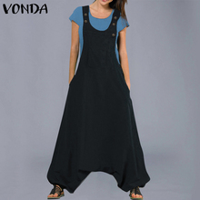 dc497c99db0 VONDA Jumpsuits Womens Rompers 2019 Fashion Casual Cotton Harem Pants  Trousers Plus Size Sexy Sleevelss Long