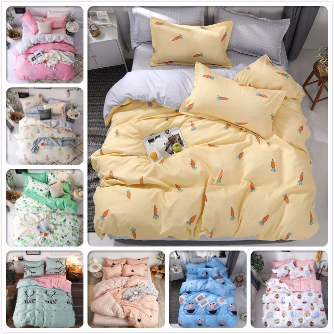AB Double Side Duvet Cover Bedding Set Adult Kids Soft Cotton Bed Linen Single Twin Queen King Size Bedspreads 150x200 180x220cmAB Double Side Duvet Cover Bedding Set Adult Kids Soft Cotton Bed Linen Single Twin Queen King Size Bedspreads 150x200 180x220cm