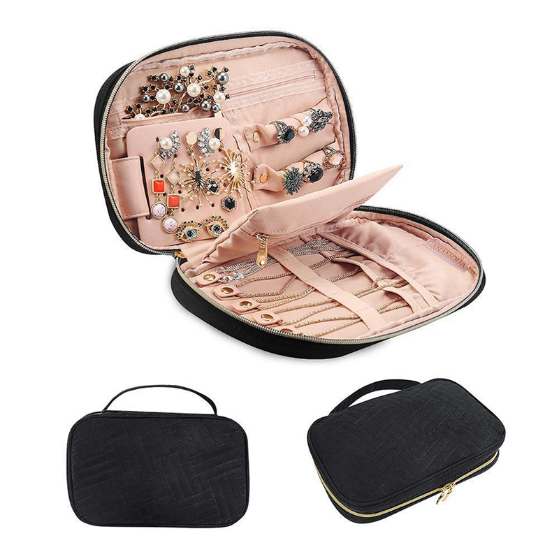 NEW-Jewelry Travel Organizer, Traveling Jewelry Bag Case For Earring Necklace Rings Watch Bracelets, Make Up Bags 2-In-1 Cosme