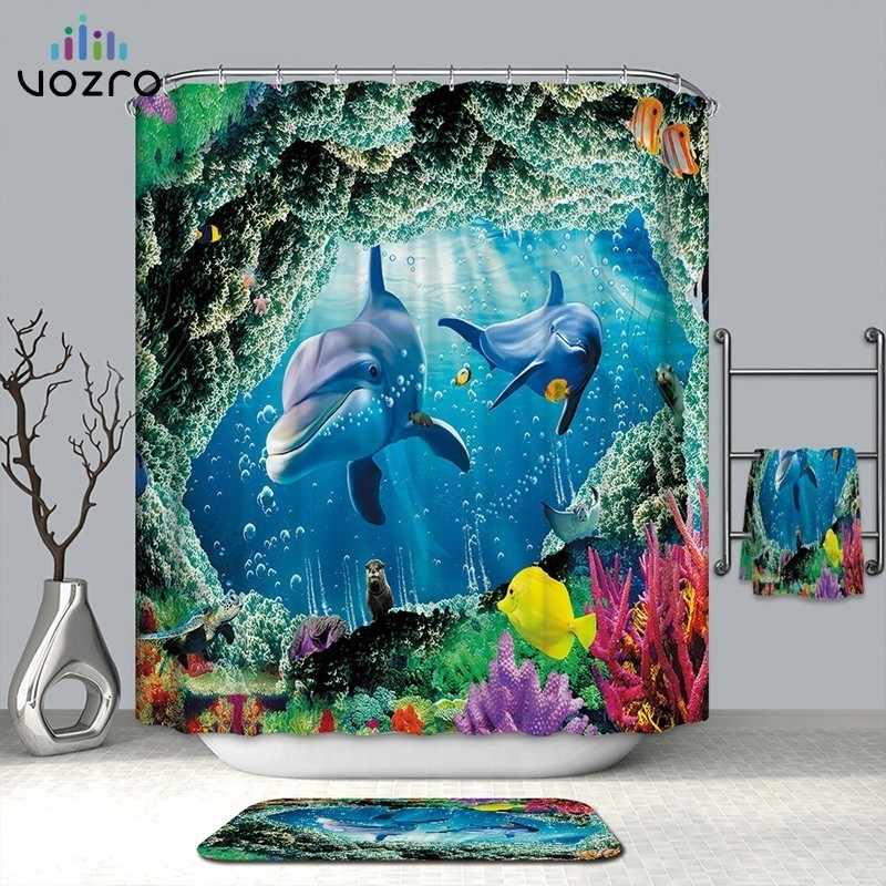 VOZRO Shower Waterproof Polyester Cloth 3d Marine Bath Curtain Bape Douchegordijn Pascoa Cortina Splatoon Miniaturas Whal Cactus