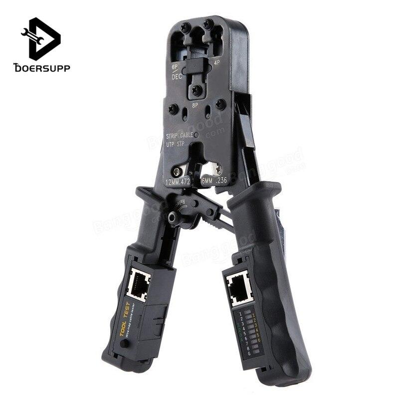 2 en 1 RJ45 red LAN Cable alicates Crimper herramientas de corte de probador de Cable alicates 6 P/8 P cortador de alambre de ensayo de la herramienta que prensa alicates