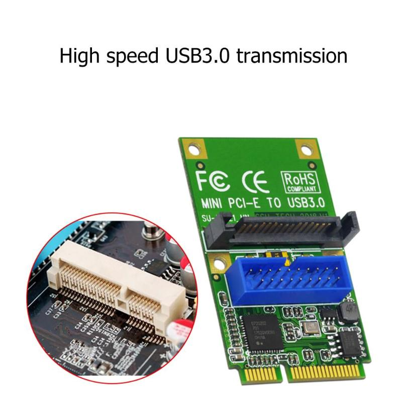 MINI PCI-E To USB3.0 Adapter Card MINI PCIE To 19-pin 20pin USB 3.0 Expansion Card With 15pin SATA Power Ports For Desktop PC
