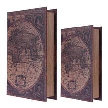 Caja organizadora de madera para billetes y libros de seguridad con mapa del mundo grande 2019 caja de almacenamiento de madera estilo europeo Retro Vintage