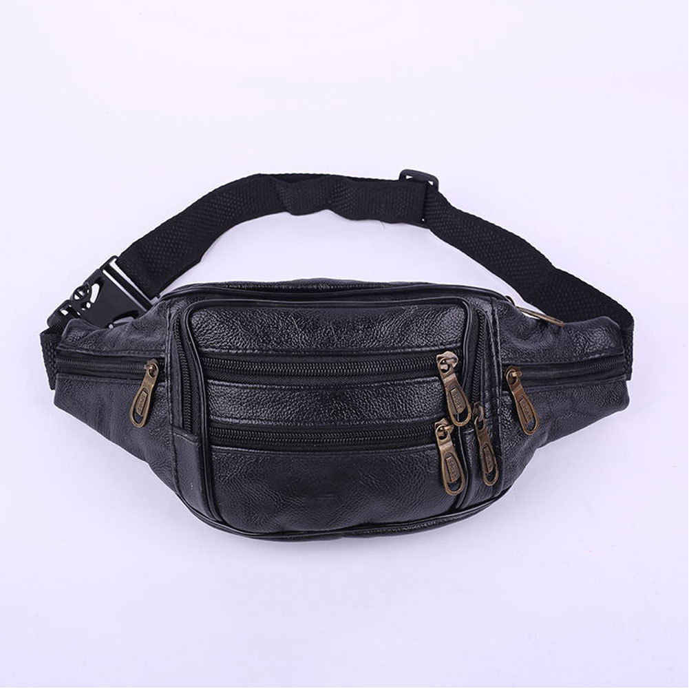 e1fa45fd919b ... 2018 New Style Fashion Black Leather Fanny Pack Men s Waist Belt Bag  Women s Solid Zipper Hip ...