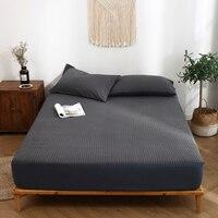 EDLALIASY Modern Simplicity Fitted Sheet 100% Cotton Bed Sheet Black Geometric Pattern 180X200CM Sheets 1pcs